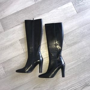 YSL Knee High Black Leather Boots